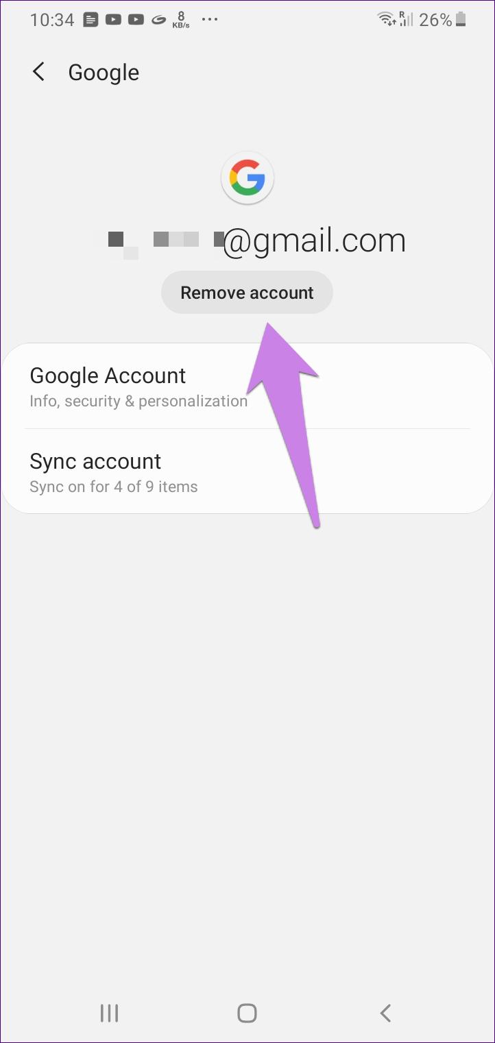 O que acontece quando você remove a Conta do Google do telefone 13