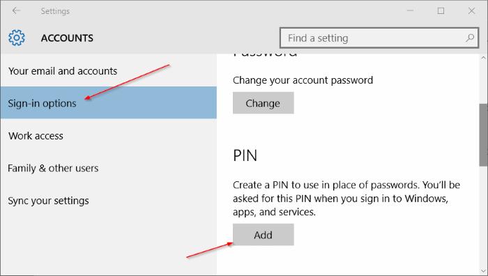 Options de connexion Windows 10