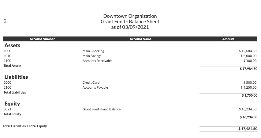 Example of grant fund balance sheet