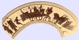 Σκύφος που απεικονίζει το τροχήλατο καράβι του Διονύσου στη γιορτή των Ανθεστηρίων