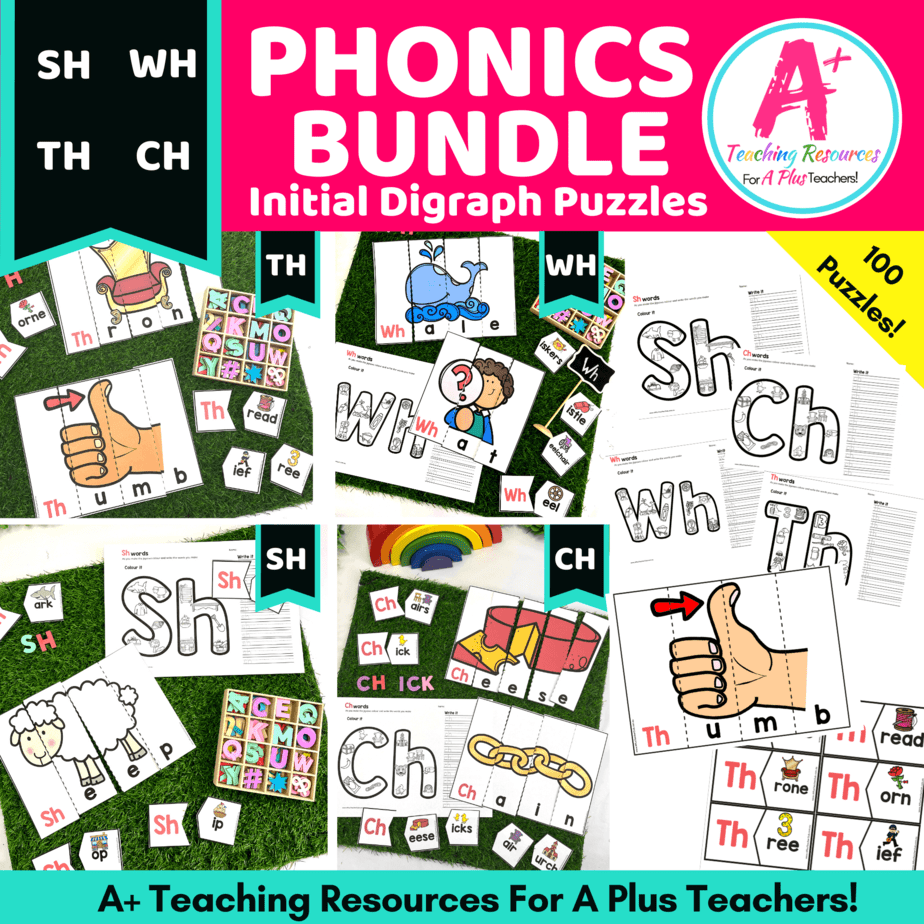 hight resolution of Initial Digraph Puzzles Literacy Resource BUNDLE {SH-CH-WH-Th} A+
