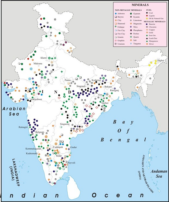 ICSE Solutions for Class 10 Geography Minerals in India