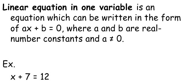 Linear Equations In One Variable A Plus Topper
