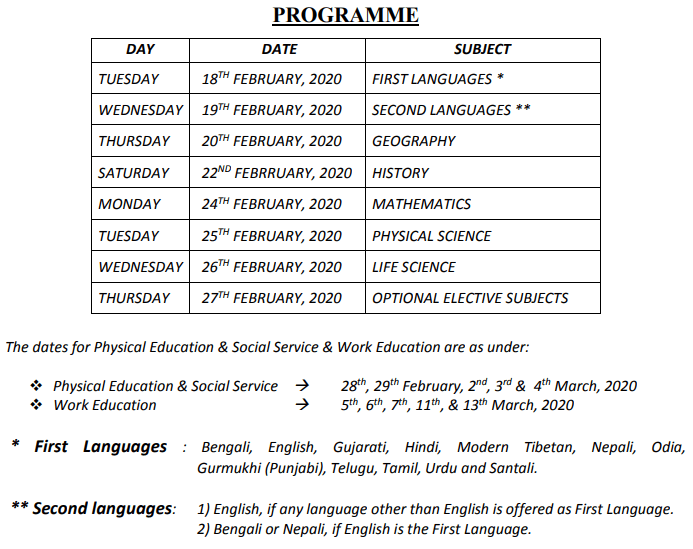 West Bengal Madhyamik Routine Time Table 2020