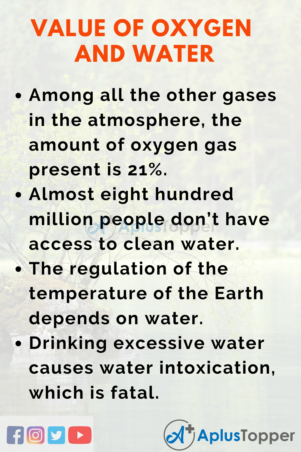 Essay about Value of Oxygen and Water in Life_Earth