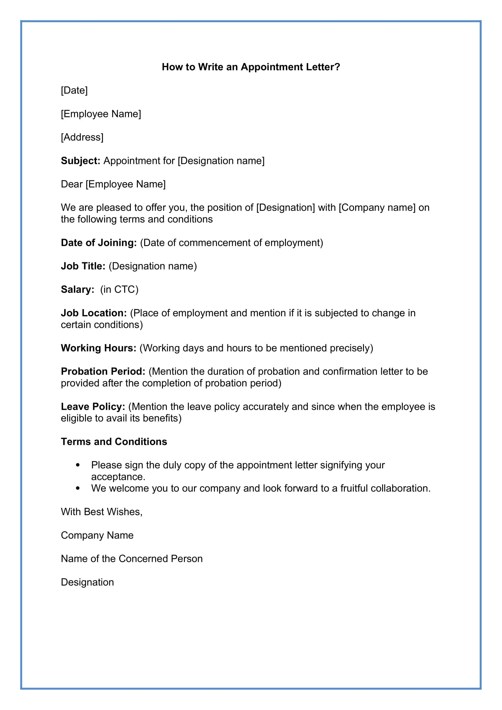 How to Write an Appointment Letter