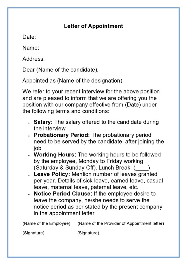 Appointment Letter  Job Appointment Letter Format, Sample