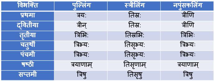 Teen/Tri Ke Shabd Roop In Sanskrit