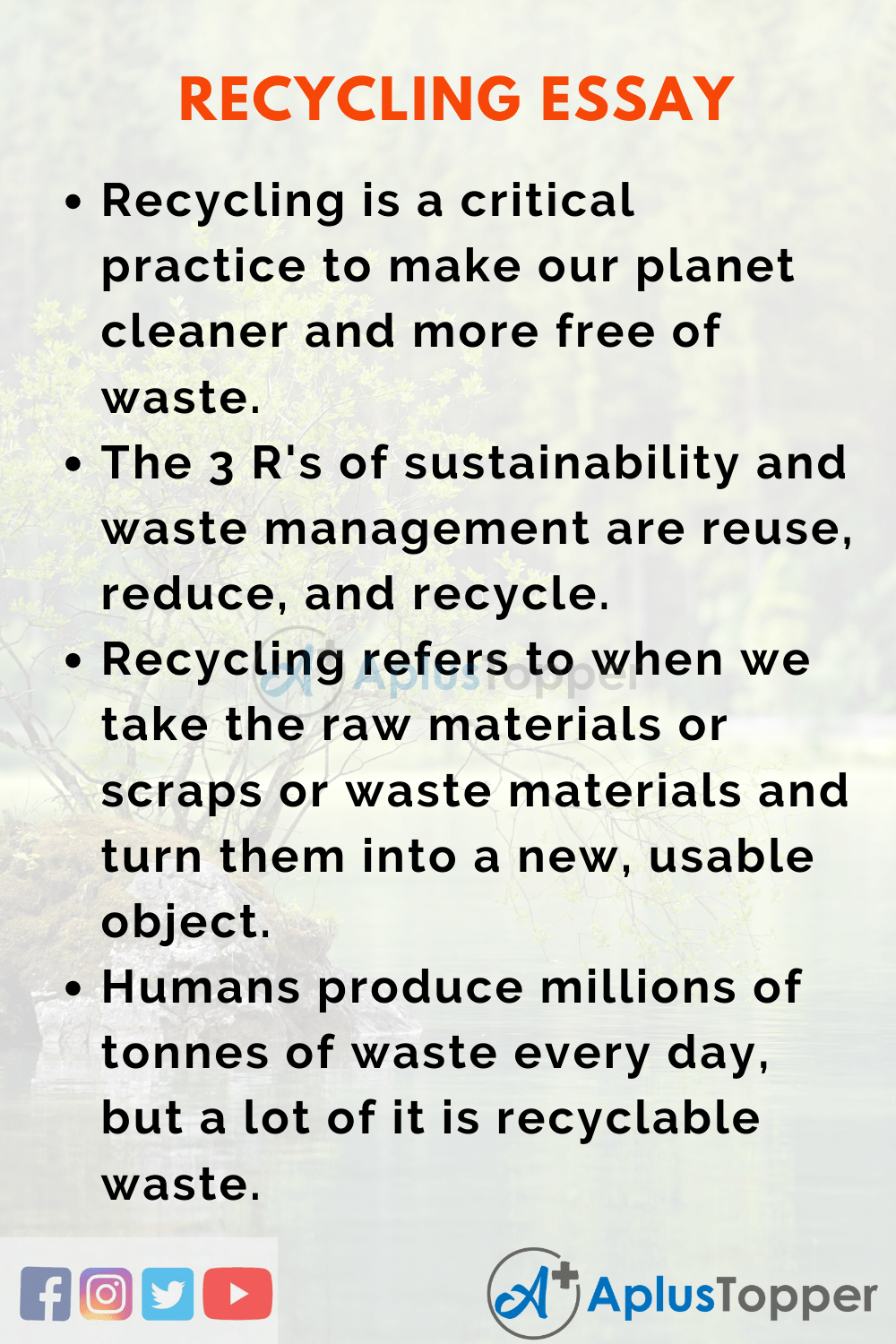 Essay on Recycling