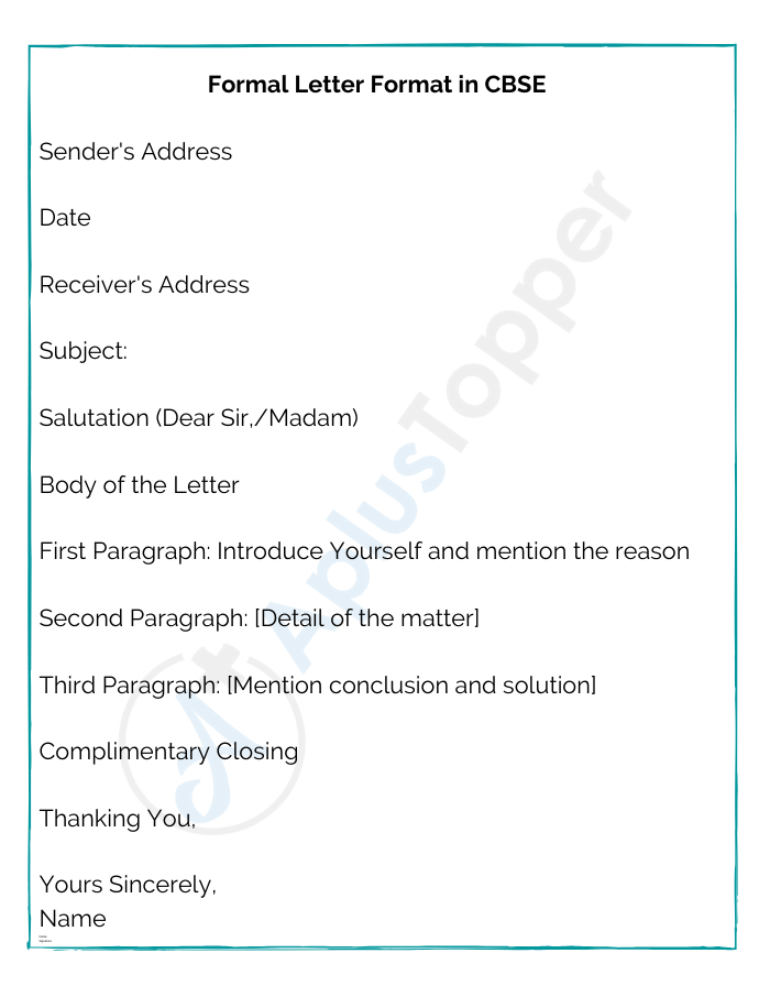 Formal Letter Format in CBSE