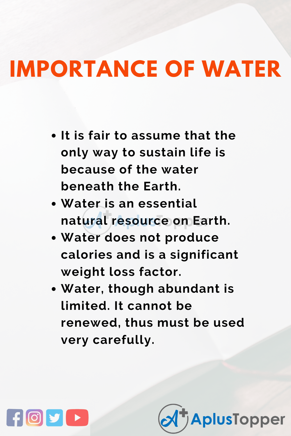 Importance of Water Essay