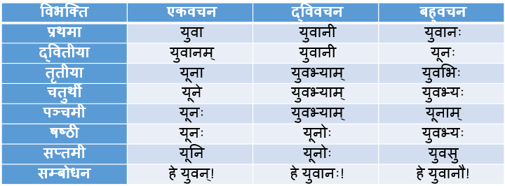 Yuvan/Yuvak Shabd Roop In Sanskrit