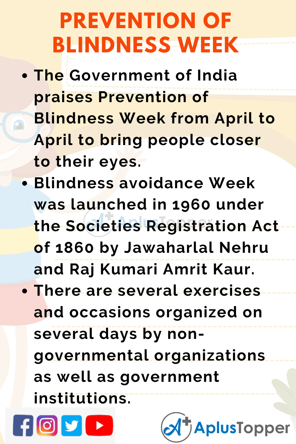 10 lines about Prevention of Blindness Week