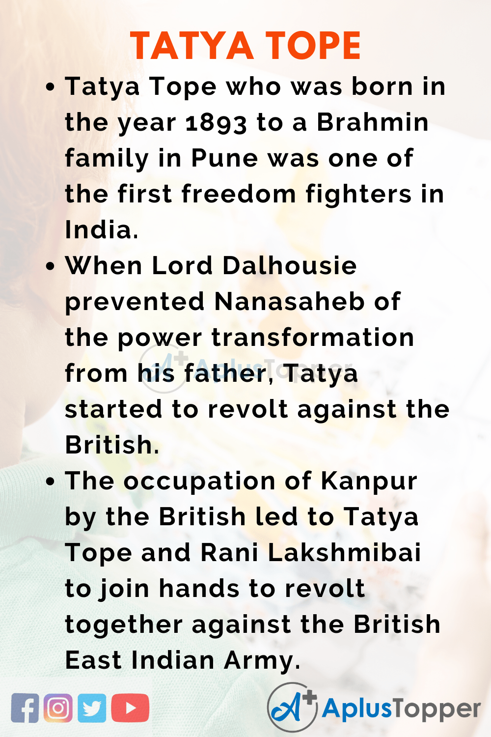10 lines about Tatya Tope