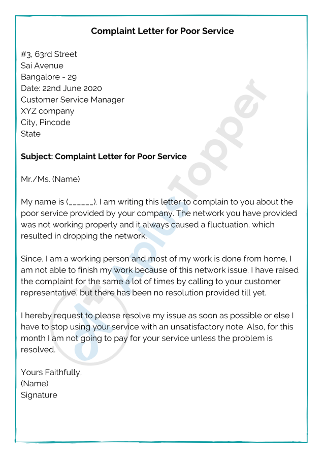 Complaint Letter Format  Samples, How to Write a Complaint Letter