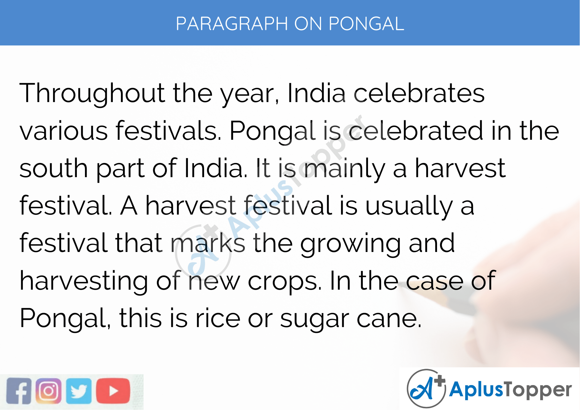 Paragraph On Pongal - 100 Words for Classes 1, 2, 3 Kids