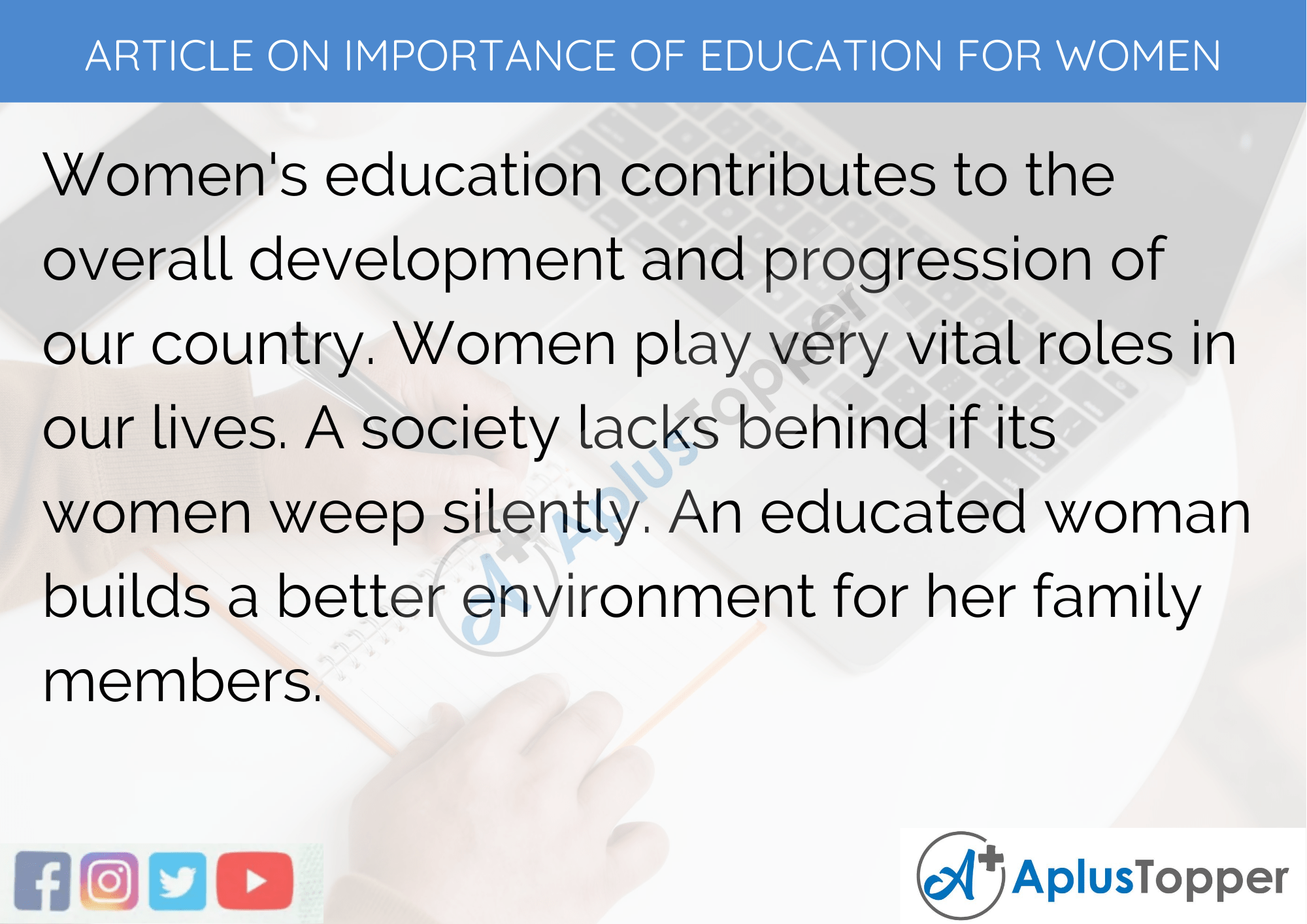 Short Article on Importance of Education for Women 200 Words in English