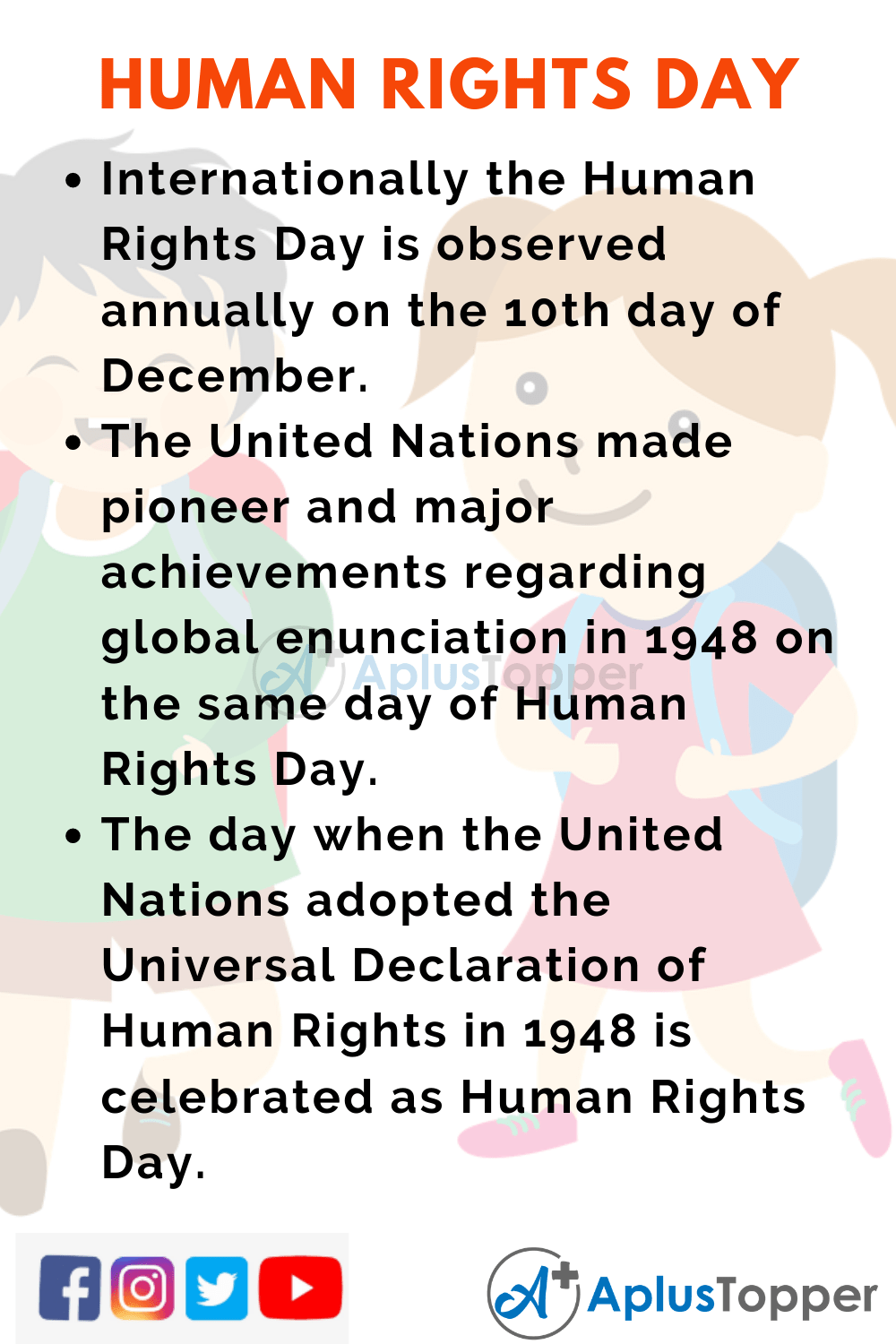 10 Lines On Human Rights Day for Kids