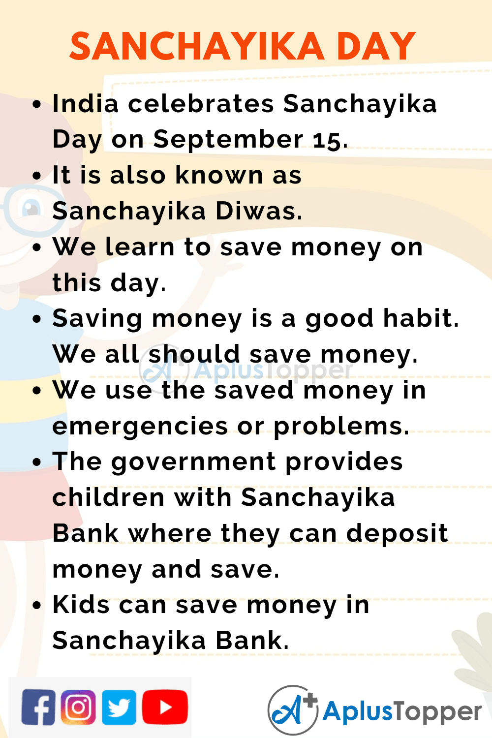10 Lines on Sanchayika Day for Kids