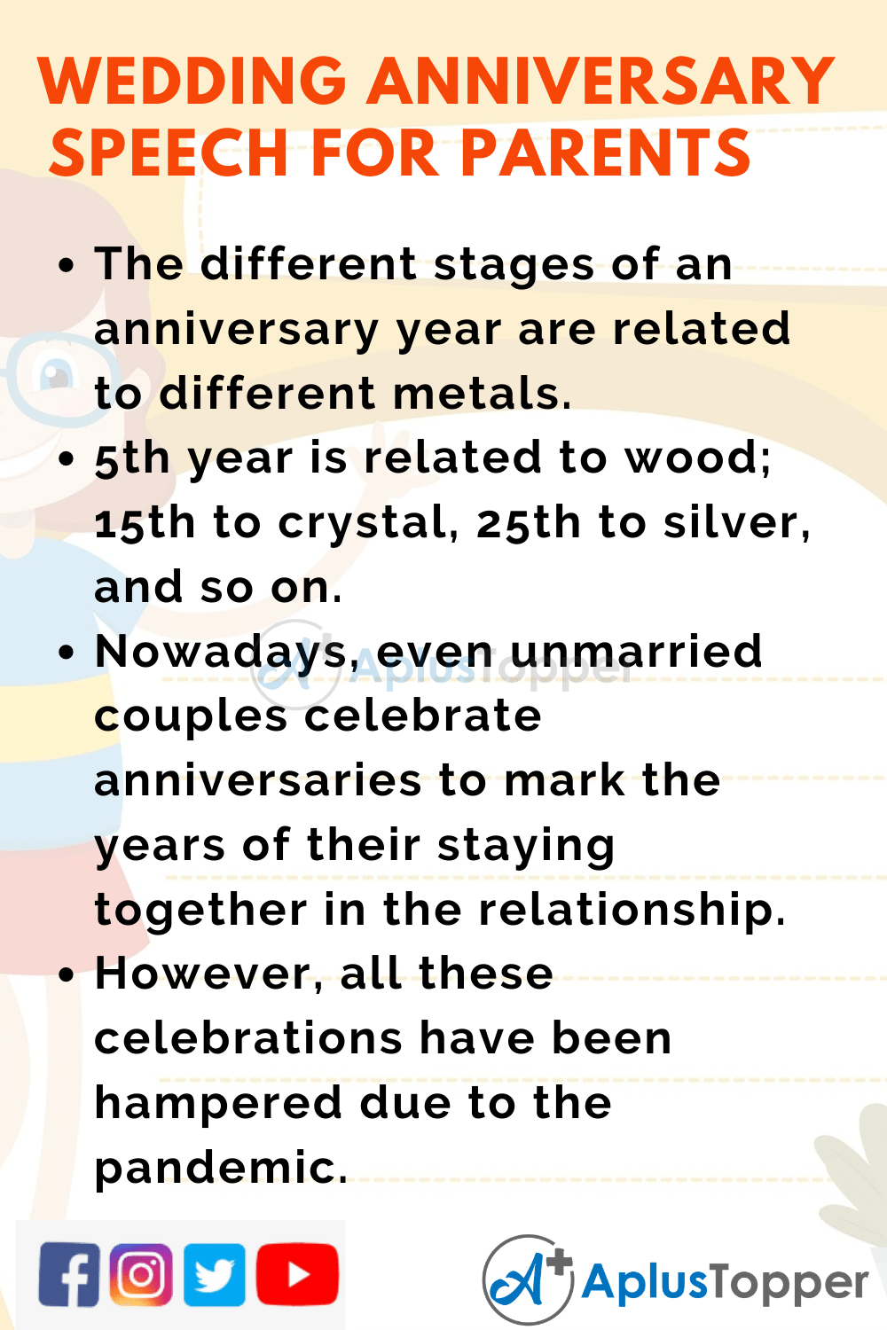 Short Speech On Wedding Anniversary for Parents 150 Words in English