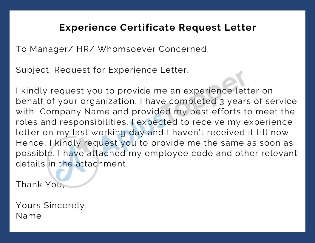 Experience Certificate Request Letter