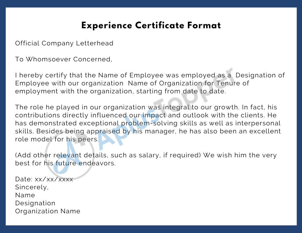 Format Experience Certificate