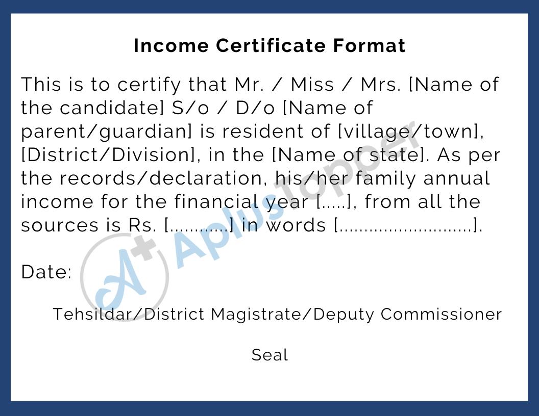 Income Certificate Format