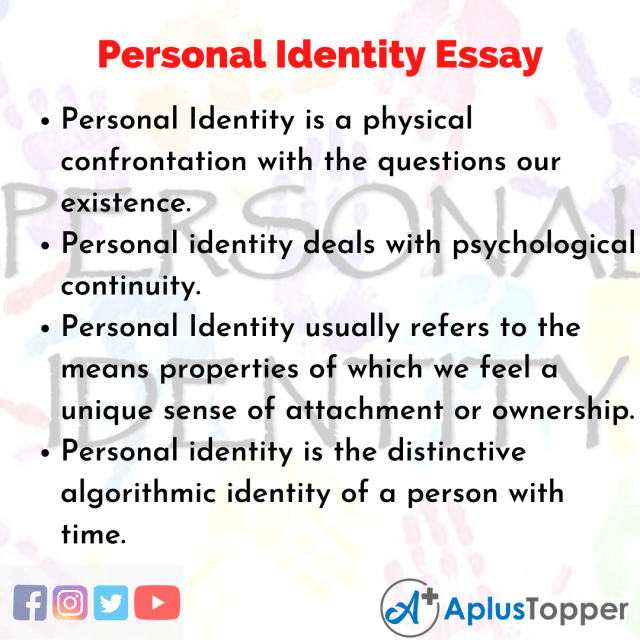 Personal Identity Essay  Essay on Personal Identity for Students