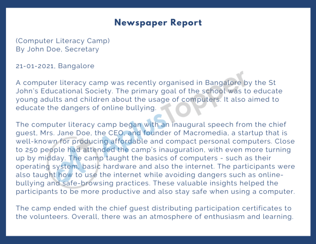 Report Writing Format, Template and Examples  Newspaper and