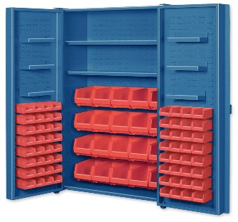 Big Blue Pocket Door Bin Cabinets With Door Shelves