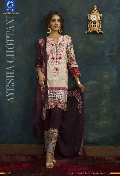 Ayesha Chottani Designer Embroidered Lawn Collection 2018 ST-1A