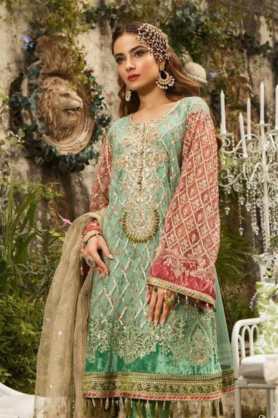 MARIA B Unstitched MBROIDERED – Aquamarine & Coral (BD-1608)