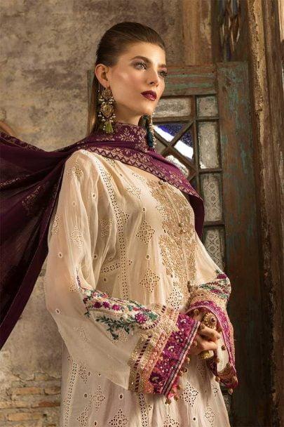 MARIA B Unstitched Eid Lawn 2019 D-602-Off White