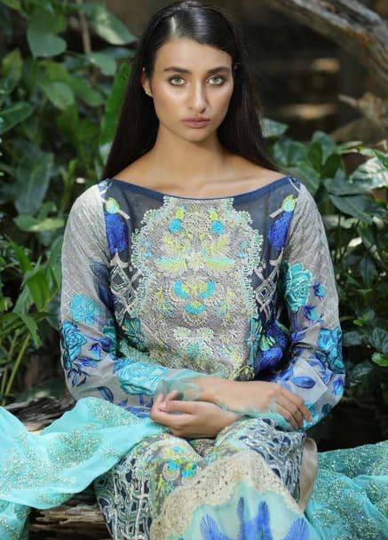 Zunuj Embroidered Cotton Net Eid Collection 2018 02