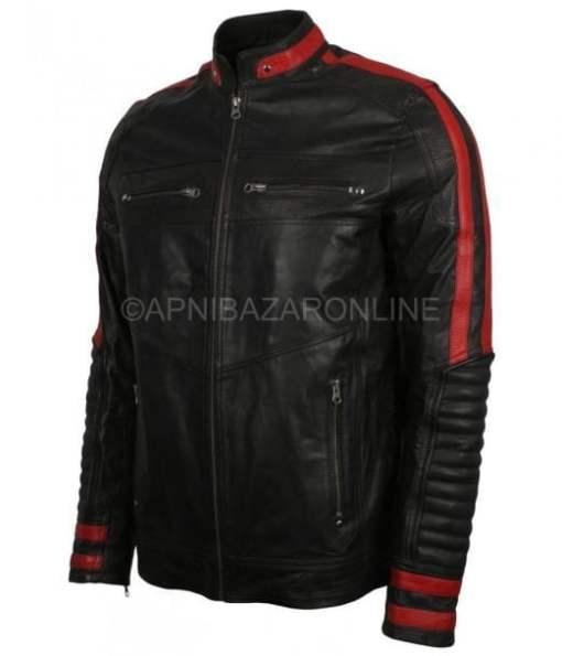 Mens Cafe Racer Red Stripes Black Leather Jacket DMLJ-01