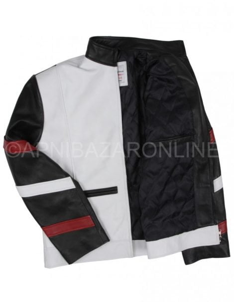 Black and White Designer Smart Genuine Leather Jacket DMLJ-09