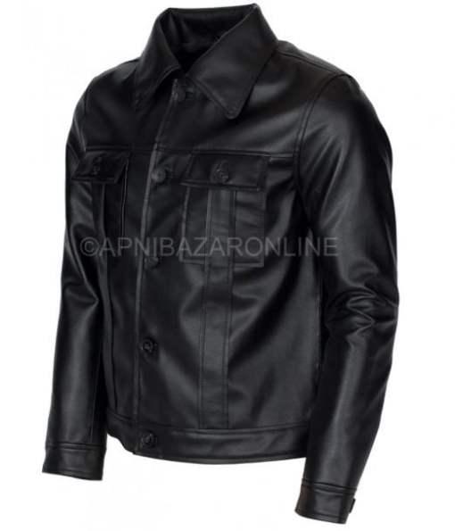 Elvis Presley Inspired Mens Black Genuine Leather Jacket DMLJ-10