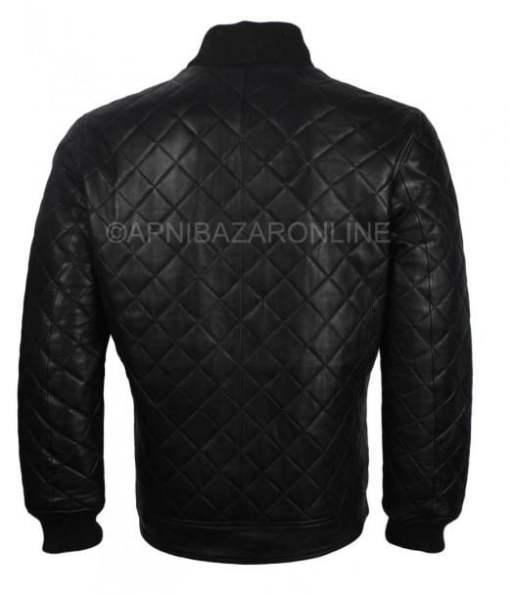 Mens Quilted Designer Genuine Leather Jacket Black DMLJ-20