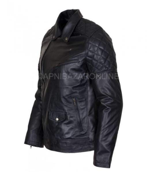 Mens Designer Brando Style Black Vintage Waxed Genuine Leather Jacket DMLJ-27