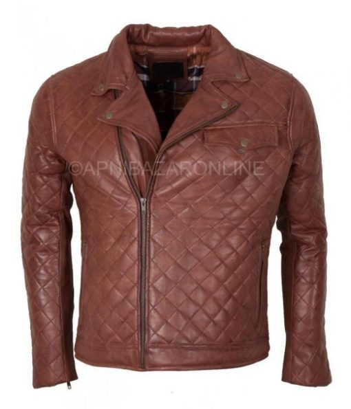 Mens Quilted Brown Real Leather Designer Jacket DMLJ-33