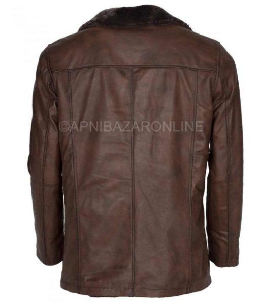 Mens Dark Brown Waxed Faux Shearling Leather Coat DMLJ-35
