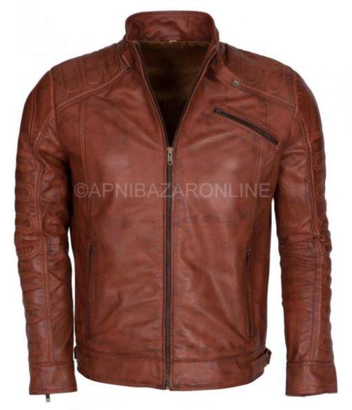 Vintage Brando Padded Style Dark Brown Waxed Genuine Leather Jacket DMLJ-36