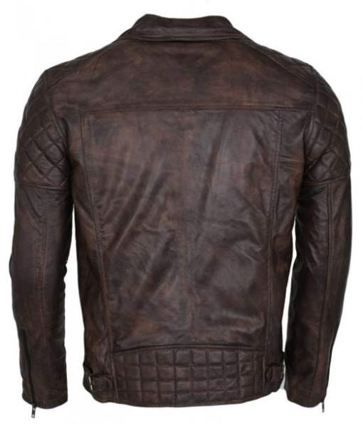 Mens Designer Brando Style Dark Brown Vintage Waxed Genuine Leather Jacket DMLJ-37