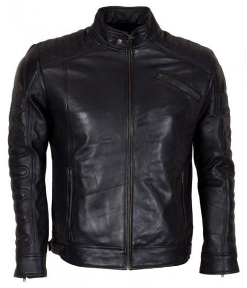 Vintage Brando Padded Style Black Waxed Genuine Leather Jacket DMLJ-38