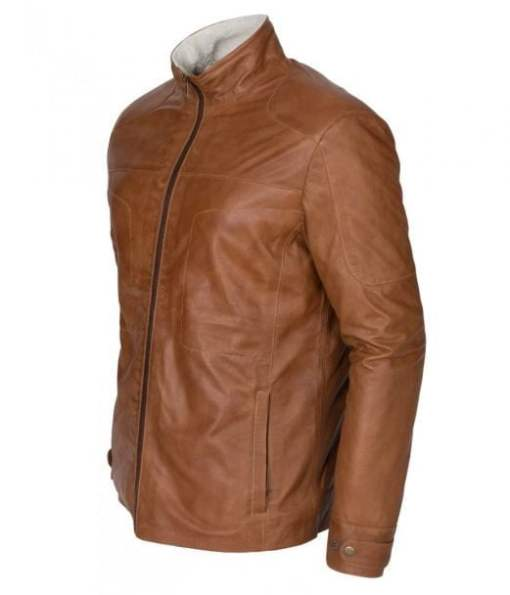 Mens New Tan Waxed Faux Fur Genuine Leather Winter Designer Jacket DMLJ-41