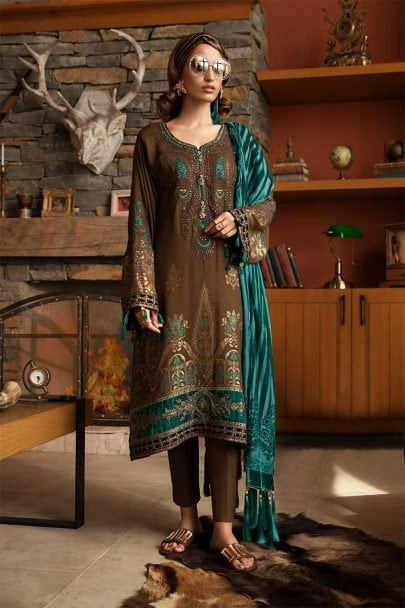 MARIA B LUXURY LINEN COLLECTION 2019 DL-702-Brown