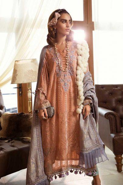 MARIA B LUXURY LINEN COLLECTION 2019 DL-705-Peach