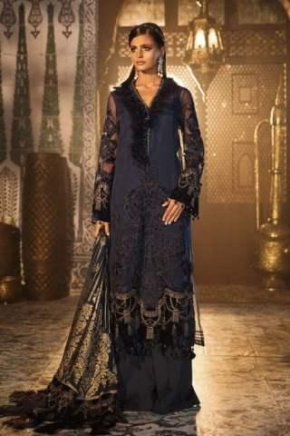 Maria B Unstitched 3Pcs Velvet Mbroidered Wedding Edition 2019 - Deep Sapphire Blue MBWE19-1803