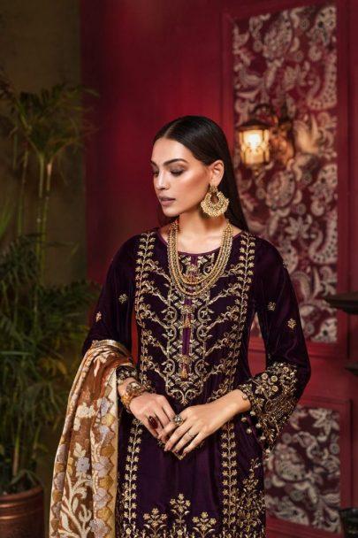 Tehzeeb by Mohagni Embroidered Velvet Collection 2020 Unstitched 3 pcs Luxury Suit TMEV19-01 (Copy)