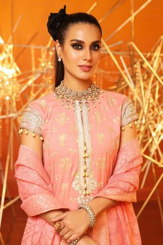 Al Karam Embroidered Cotton Silk Unstitched 2 Piece Suit AKF20-18H PEACH – Festive Collection